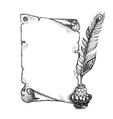 scroll writing tattoo designs feather and blank scroll quill pen inkwell vector