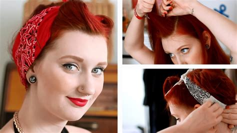 biker bandana look cute on thin hair pinup bandana hairstyle tutorial fake victory rolls