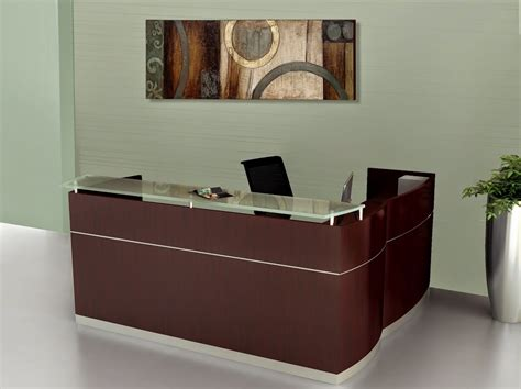 Napoli Reception Desk Napoli L Shape Wood Veneer Reception Station With Glass Transaction Top And 2 Pedestals New