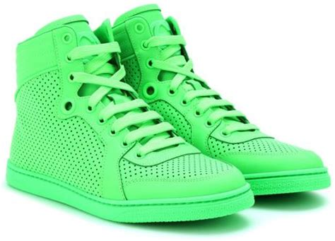 neon green gucci sneakers gucci neon leather high top sneakers in green lyst