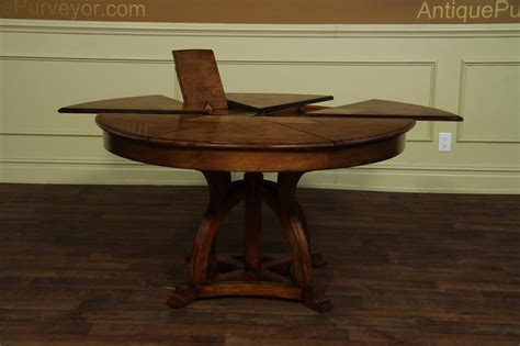 expanding round dining room table solid walnut round arts and crafts expandable dining room