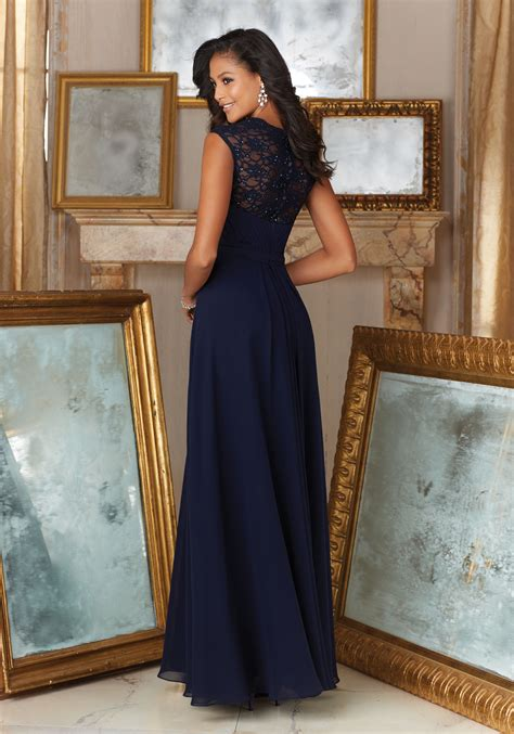 Bridesmaid Dress Material Options - beaded lace and chiffon material bridesmaid dress style