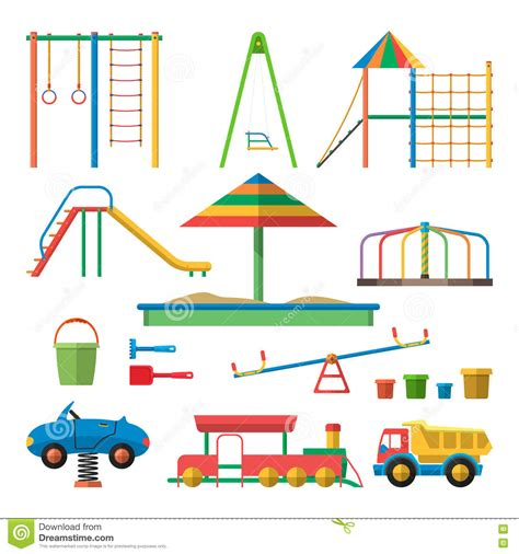 swing layout elements kids playground vector illustration with objects children