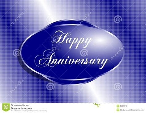 Happy Anniversary Greeting Card In Blue Stock Illustration