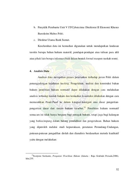 Penelitian Hukum Normatif Suatu Tinjauan Singkat Soerjono Soekanto tesis peran polri dalam penanggulangan kejahatan hacking