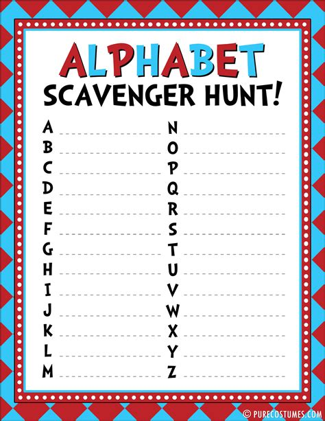 up letter scavenger hunt read across america activities plus free printables