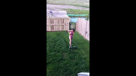my wife attempting to mow the lawn in her bikini youtube