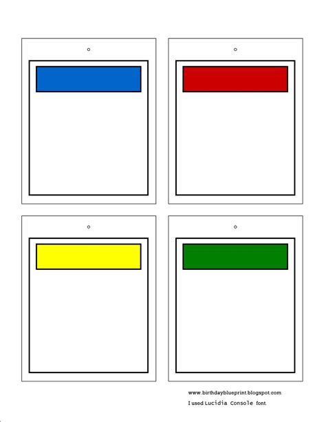 monopoly card template 7 best images of blank printable cards blank