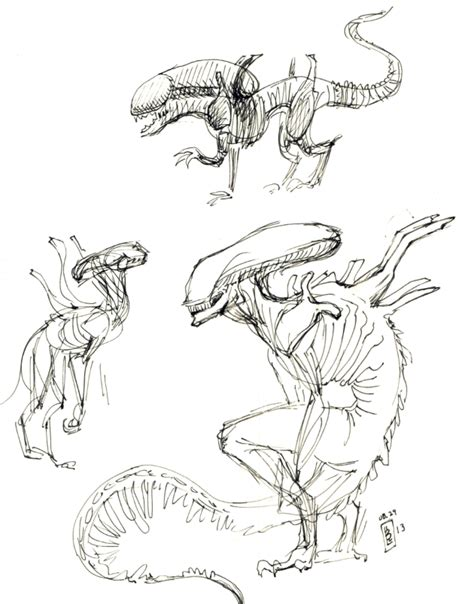 Xenomorph Coloring Page by Xenomorph Sketches By On The Moon