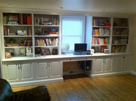 Built In Bookshelves With Desk Made Built In Bookcase By J S Woodworking