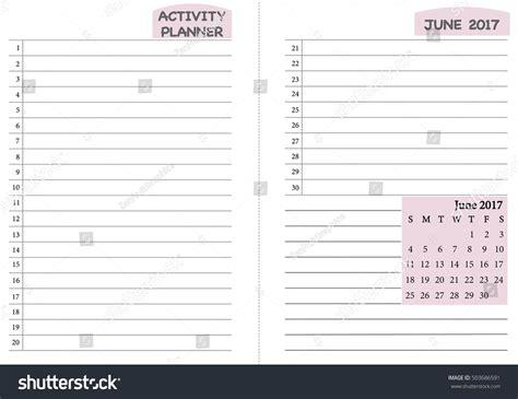 june 2017 calendar template monthly planner stock vector