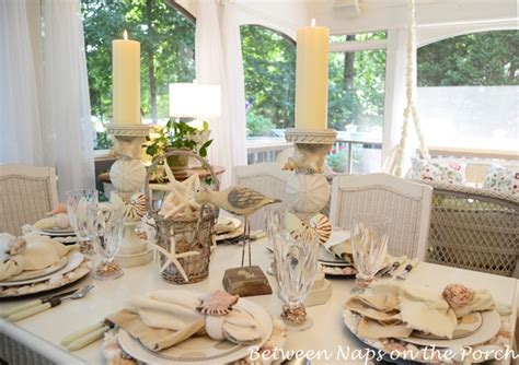 beach themed table setting  shell chargers