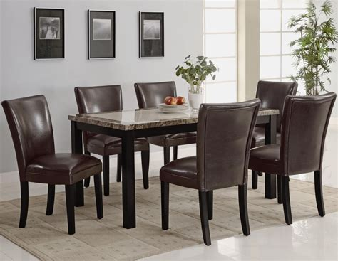 wood and marble dining table coaster 102260 102263 brown wood and marble dining