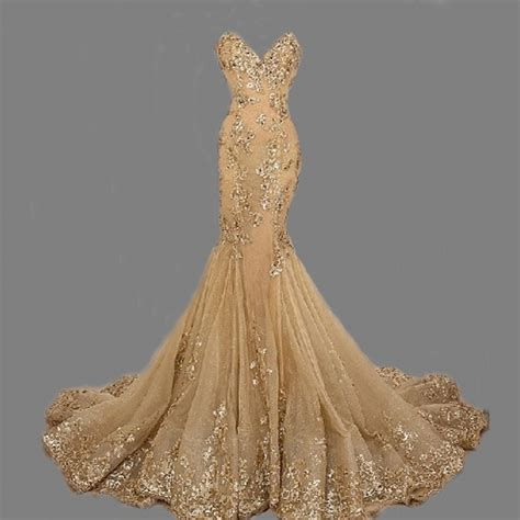 prom dress mermaid gold wedding dress lace up open back prom wedding dress inspiration wgb121 vestidos de novia 2015 bridal wedding gowns fishtail style gold sequins lace sweetheart