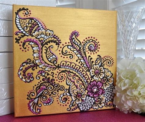 Fuschia Home Decor by Henna Mehndi Inspired Acrylic Painting On Canvas Gold