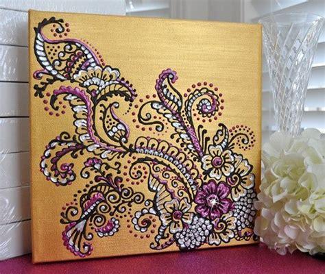 henna mehndi inspired acrylic painting on canvas gold
