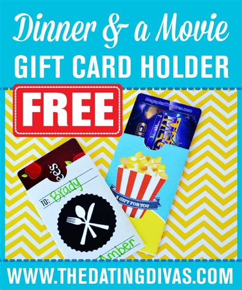 Dinner And A Movie Gift Cards - 10 printable gift card holders
