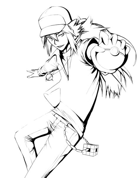 pokemon trainer coloring pages pokemon trainer n wip lineart by chatoyant epoch on