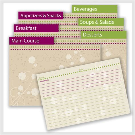 printable recipe index card dividers printable recipe cards with divider tab and shopping list