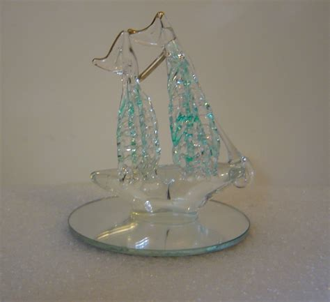 spun glass ship figurine or christmas ornament sold to