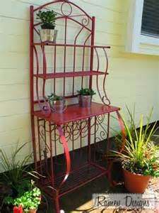 Painted Bakers Rack Creative Upcycling Ideas For Your Back Yard Patio