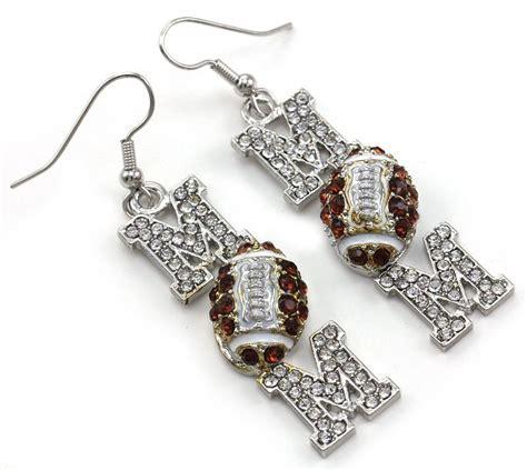 football sport dangle earrings silver tone clear brown