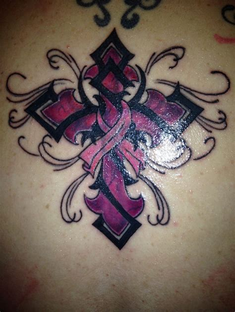 breast cancer ribbon and cross tattoo 25 best ideas about purple ribbon tattoos on