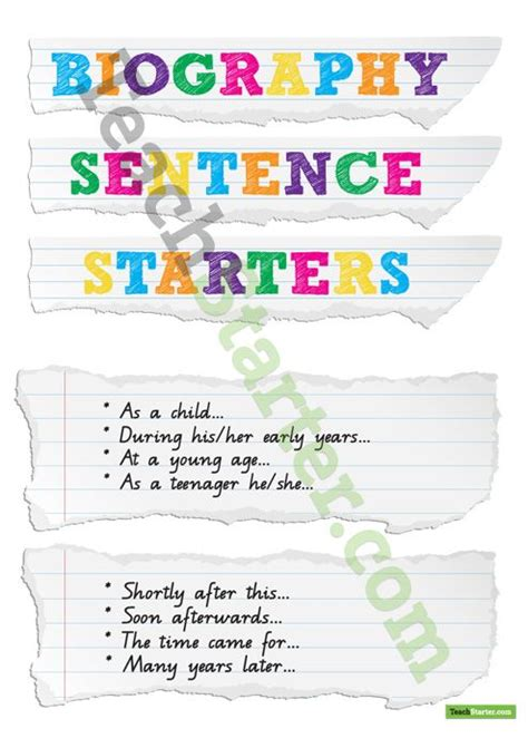 structure of a biography for students biography sentence starters teach starter ela