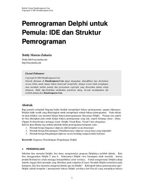 tutorial delphi untuk pemula pemograman delphi untuk pemula