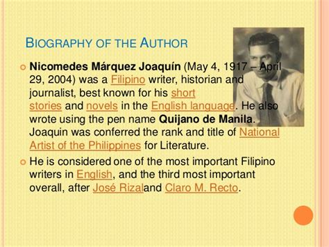 biography of nick joaquin the house on zapote street