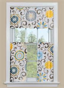 Blue And Yellow Kitchen Curtains Floral Kitchen Curtains With Blue And Yellow Pom Pom Play Spa