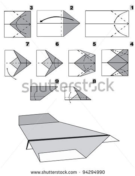 Steps For A Paper Airplane - paper plane tutorial step by step stock vector tba