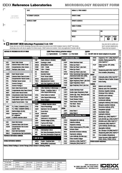 reference laboratory requisition forms