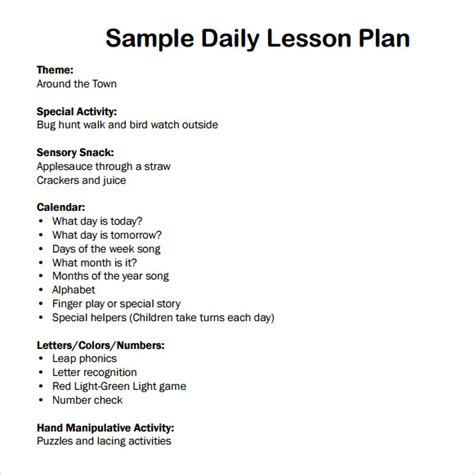 7 Sle Daily Lesson Plans Sle Templates Preschool Daily Lesson Plan Template