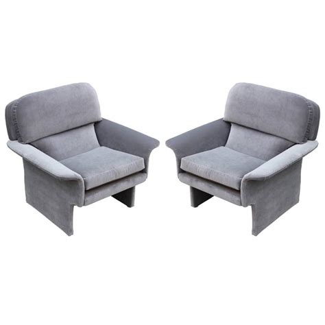 Lounge Armchair by Sculptural Pair Of Modern Lounge Chairs In Soft Grey