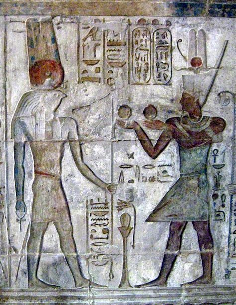 Ancient Egyptian Wall Murals file menthu and ptolemy iv jpg wikimedia commons