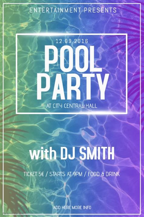 pool party poster flyer template postermywall