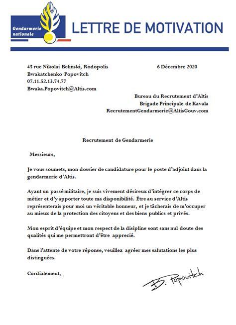 Lettre De Motivation De La Gendarmerie Candidature Accept 233 E Candidature De Bwakatchenko Popovitch Vendredi 15h Agorapolis