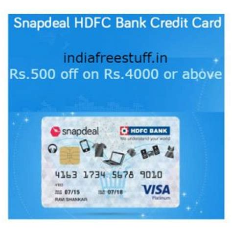 make payment for hdfc credit card rs 500 on rs 4000 with snapdeal hdfc bank credit card