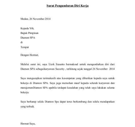 contoh surat pengunduran diri atau surat resign dari kerja