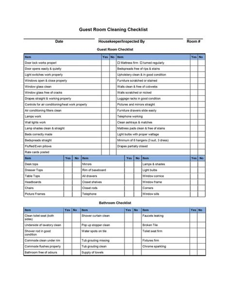 hotel room cleaning checklist templates external house