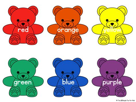 bears of color rainbow colors printable simple for