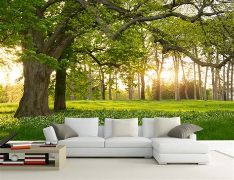 cetak wallpaper dinding murah kualitas tinggi hijau pohon wallpaper beli murah hijau