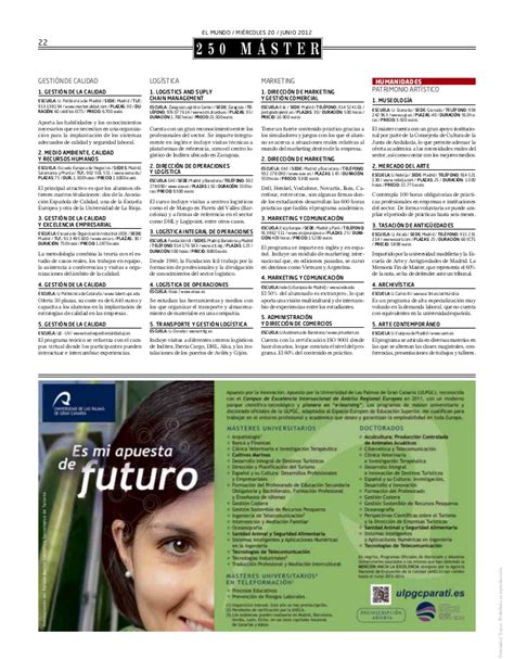 Of Ta Ranking Mba by Cinco M 225 Sters De Eae Seleccionados En El Ranking El Mundo 2012
