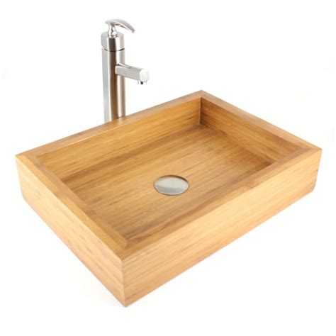 Countertop Lavatory by Irenic Bamboo Countertop Bathroom Lavatory Vessel Sink