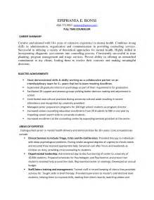 Mental Health Counselor Sle Resume by Resume For School Counselor