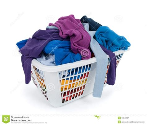 cloth laundry clothes in laundry basket blue indigo purple stock