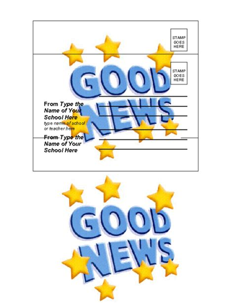 Good News Postcard Template Education World School Postcard Template