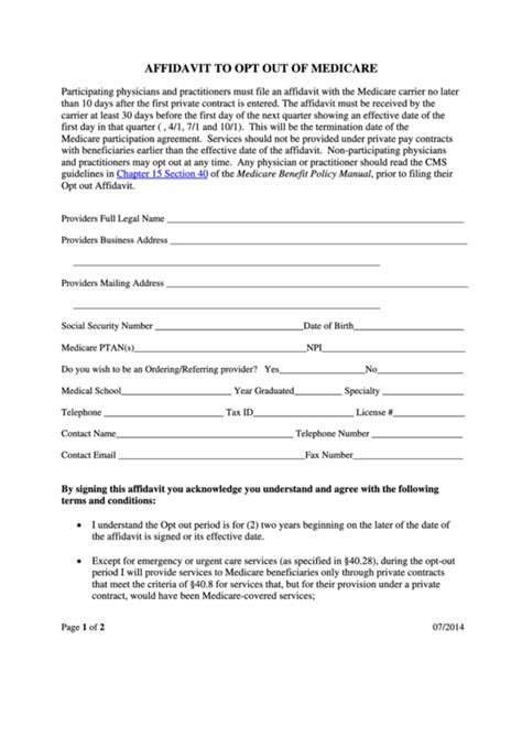 affidavit to opt out of medicare form printable pdf