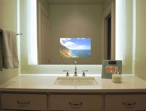 tv in the bathroom illuminated television mirror